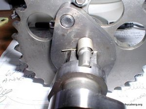 2004 Husaberg cam with latest decompression lobe. Note how close it is to the front compared to old.